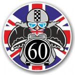 Year Dated 1960 Cafe Racer Roundel Design & Union Jack Flag Vinyl Car sticker decal 90x90mm